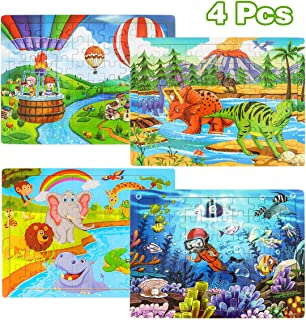 Aitey Puzzles for Kids Ages 4-8, 60 Pieces Wooden Jigsaw Puzzles Preschool Educational Learning Toys for Boys and Girls (4 Pack)