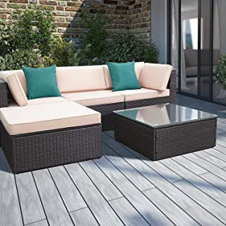 Devoko 5 Pieces Patio Furniture Sets All-Weather Outdoor Sectional Sofa Manual Weaving Wicker Rattan Patio Conversation Set with Cushion and Glass Table (Blue Pillow)