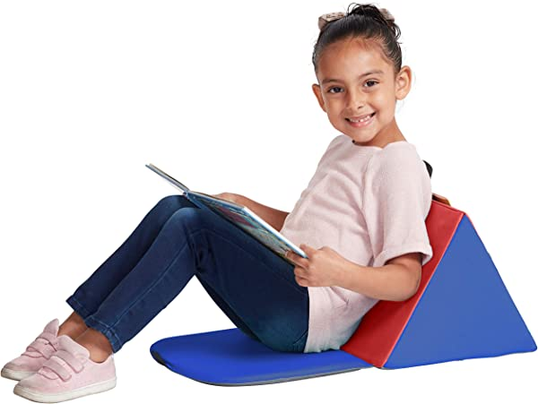 ECR4Kids 6 Pack SoftZone Carry Me Soft Seat With Storage Book Pocket And Handle Portable Folding Seat Reading Cushion For Kids And Toddlers Blue Red