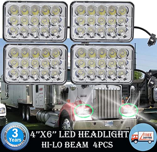 high quality 4X6 Inch LED Headlight H4651 H4652 H4656 H4666 Sealed Beam Replacement High Low Beam 2021 Projector Lens for 86-95 JEEP WRANGLER Peterbilt Kenworth T800 FREIGHTLINER - 3 discount Year Warranty sale