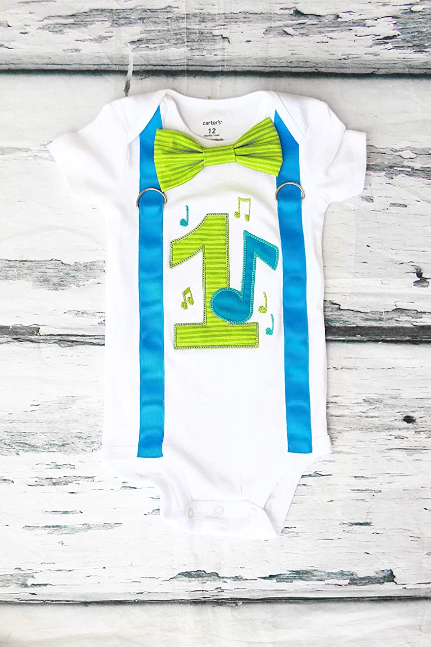 Boy first birthday Outfit teal green Music Notes birthday baby boy cake smash one year outfit birthday outfit birthday music family shirts