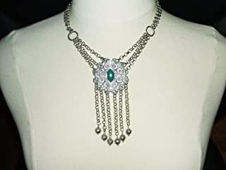 FESTOON Bib Necklace VICTORIAN Large with Chain Fringe w FILIGREE Beads Silvertone