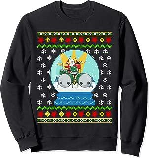 Drummer Santa Snow Globe Ugly Christmas Drums Percussionist Sweatshirt