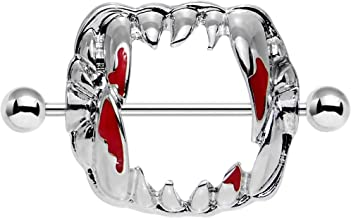 Body Candy Stainless Steel Barbell Dripping Red Vampire Fangs Nipple Shield Set of 2 14 Gauge 1 1/8