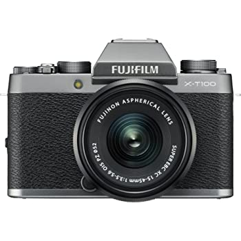 "Fujifilm X-T100 24.2 MP Mirrorless Camera with XC 15-45 mm Lens (APS-C Sensor, Electronic Viewfinder, Face/Eye Detection, 3"" 3-Way Tilt Touchscreen, 4K Video Vlogging, Film Simulations) - Dark Silver"