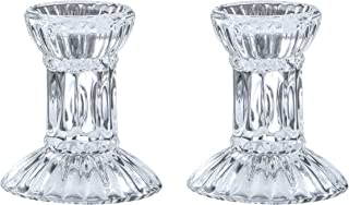 Round Base Crystal Candlesticks - 2 Pack Set - Pair of 3 Inch Round Base Fluted Design Pair Candle Holders - by Ner Mitzvah
