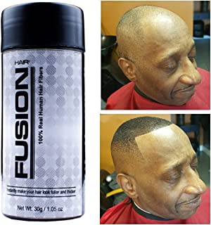 HAIR FUSION - 100% Real Human Hair Fibers - Conceal bald and thinning hair - Root touch up - Volumizer - Unisex (1.05 oz, Jet Black)