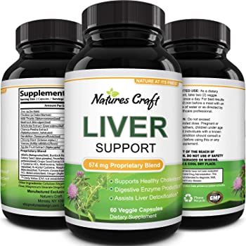 Natures Craft's Natural Liver Support Immune Support with Zinc helps with Weight Loss For Men & Women – Milk Thistle + Dandel ion + Artichoke Complex – Detox Cleanse Vitamins Boost Metabolism 60 caps