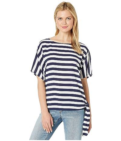 MICHAEL Michael Kors Graphic Stripe Side-Tie Tee (True Navy) Women