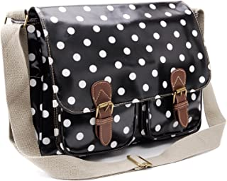 Anladia Oilcloth Polka Dots Messenger Cross Body Satchel Shoulder Bag Fit A4 Folder