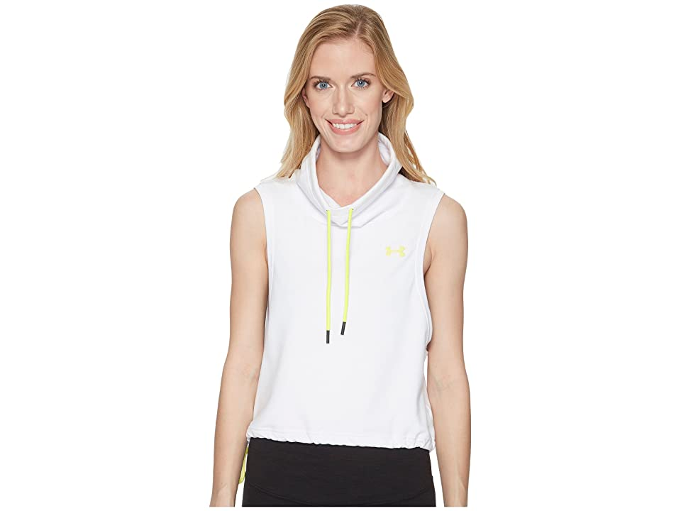 Under Armour Featherweight Fleece Sleeveless Funnel Neck (White/White/Tokyo Lemon) Women