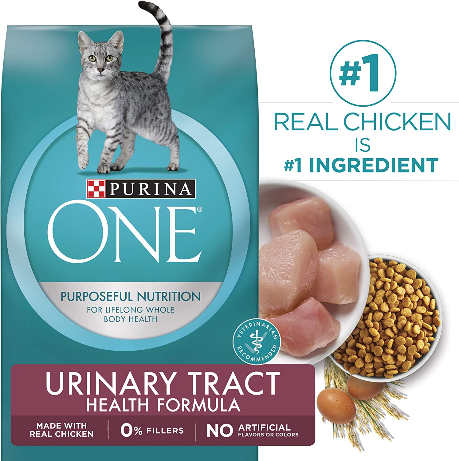 Purina ONE Dry Cat Food, Urinary Tract Health Formula, 7Pound Bag, Pack of 1
