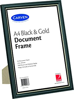 CARVEN QFWBKGLDA4 Document Frame, Black, Gold A4