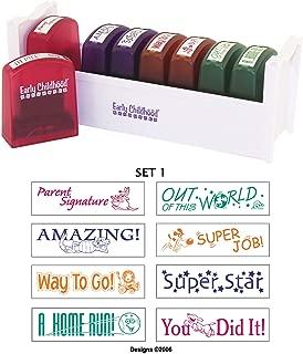 ECR4Kids Motivation Teacher Stamps - Mess-Free Self-Inking School Grading Stamp Set with Storage Tray (8-Piece Kit)