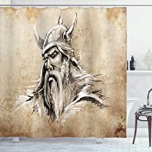 Lunarable Viking Shower Curtain, Sketch Style Scandinavian Warrior with Beard and Hat Masculine Portrait Tattoo, Cloth Fabric Bathroom Decor Set with Hooks, 75 Long, Beige Tan