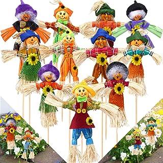 11 Pieces Halloween Scarecrow Decoration Small Scarecrow Decorations Fall Harvest Standing Scarecrow Decor for Autumn, Hal...