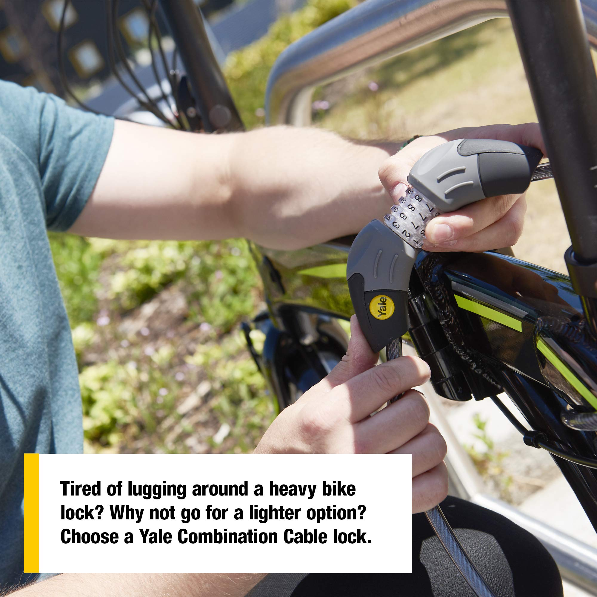 Standard Combination Cable Bike Lock 1800mm Yale YCC1//10//185//1 Steel Ball Click Gear System Lightweight