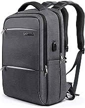 Inateck Mochilas Escolares Hombre Mujer Mochila para portátiles de 15.6 pulgadas, mochila de viaje de negocios para universidad con puerto de carga USB, gris oscuro
