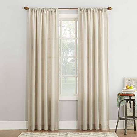 Amazon Com No 918 Amalfi Linen Blend Textured Sheer Rod Pocket Curtain Panel 54 X 84 Ivory Home Kitchen