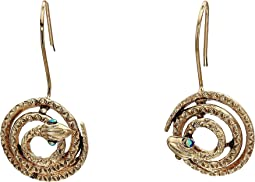 Rhinestone Coiled Snake Drop Earrings
