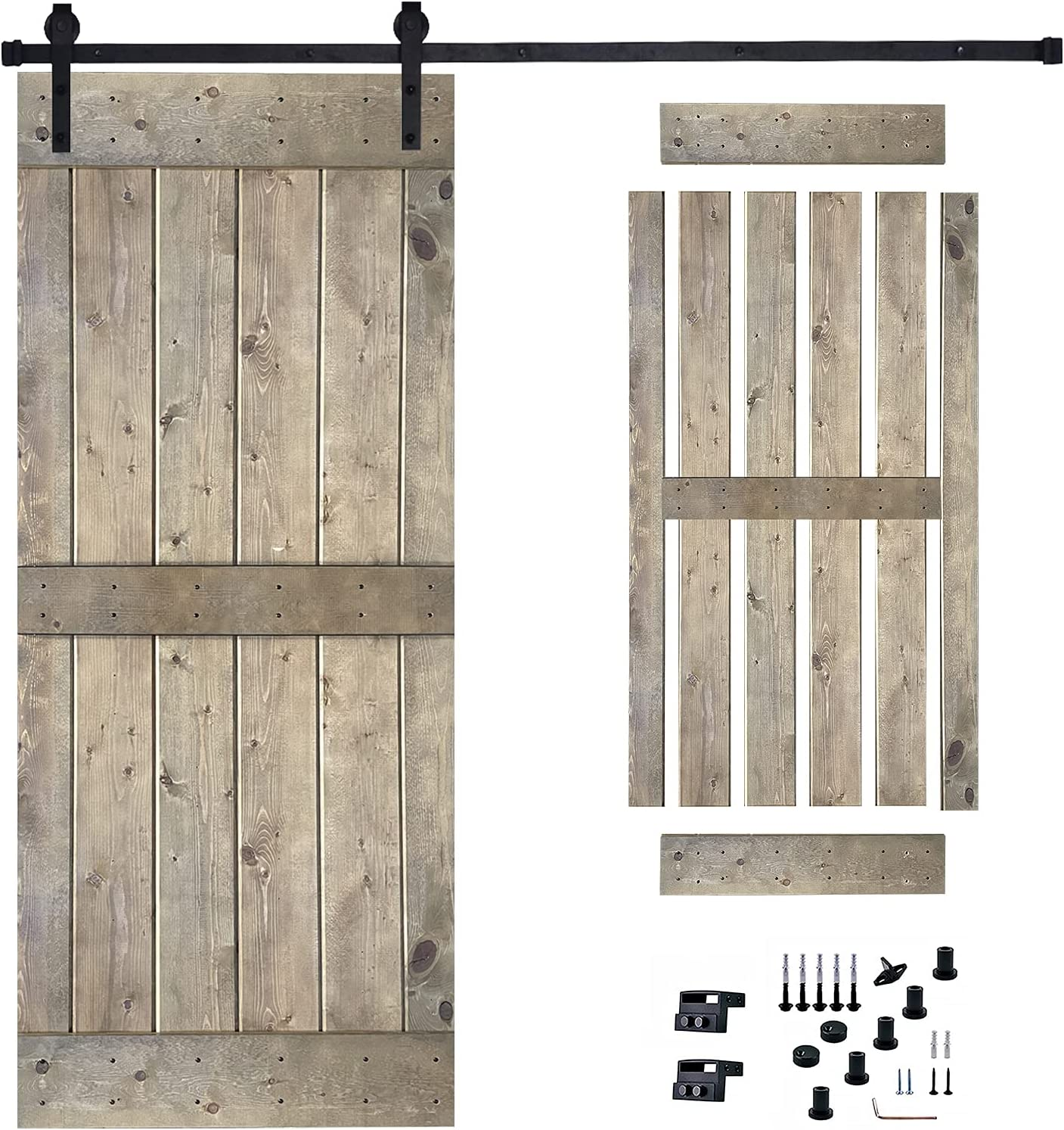 36in x 84in Sliding Barn Wood Inclu 6.3Ft Door Hardware Max New Free Shipping 78% OFF Kit with