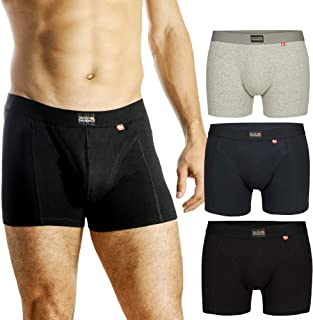 DANISH ENDURANCE Men's Trunks 3-Pack, Soft Cotton, Classic Fit Underwear, Multipack Boxershorts Black, Grey, Navy Blue