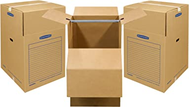 Bankers Box SmoothMove Wardrobe Moving Boxes, Short, 20 x 20 x 34 Inches, 3 Pack (7710902)