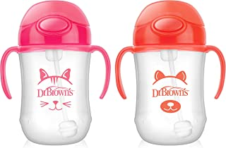 Dr. Brown's Baby's First Straw Cup, Cute Critters Pink/Orange, 9 ounce, 2 Count