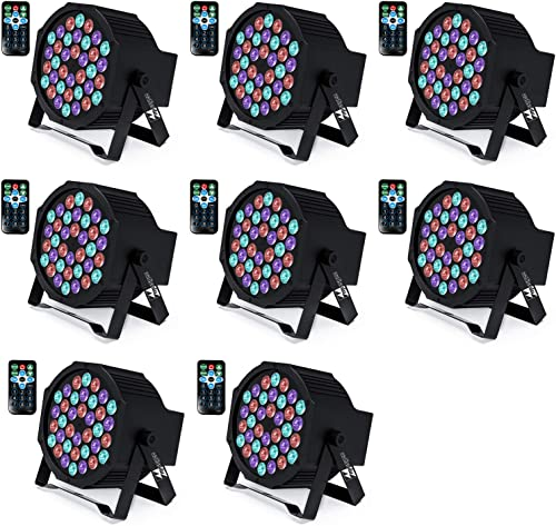 DJ Lights Missyee 36 X 1W RGB LEDs DJ LED Uplighting Package Sound Activated Stage Par Lights with Remote Control Com...