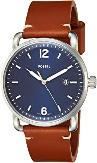 Men's Commuter Stainless Steel and Leather Casual Quartz Watch