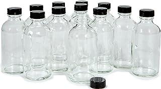 Vivaplex, 12, Clear, 4 oz Glass Bottles, with Lids