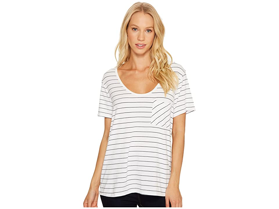 Three Dots Pinstripe Jersey U-Neck Pocket (White) Women