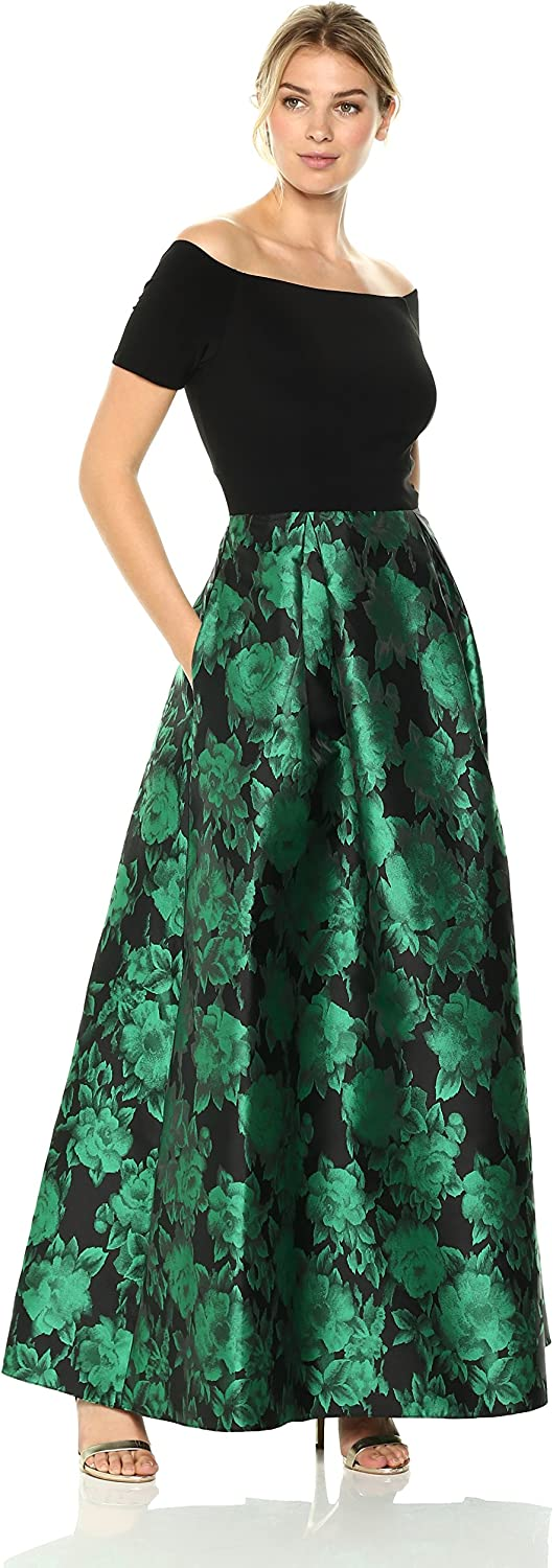 Alex Evenings Women's Off The Shoulder Dress with Printed Skirt