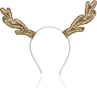 Glittering Gold Long Reindeer Antlers Festive Christmas Headband with White Velvet Band