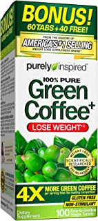Purely Inspired Green Coffee Bean, Weight Loss Supplement, Non-Stimulant 100% Pure Green Coffee for Weight Loss, 100 Count...