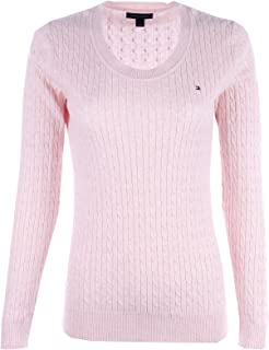 TOMMY HILFIGER Womens Scoop Neck Cable Knit Sweater (X-Large, Light Pink)