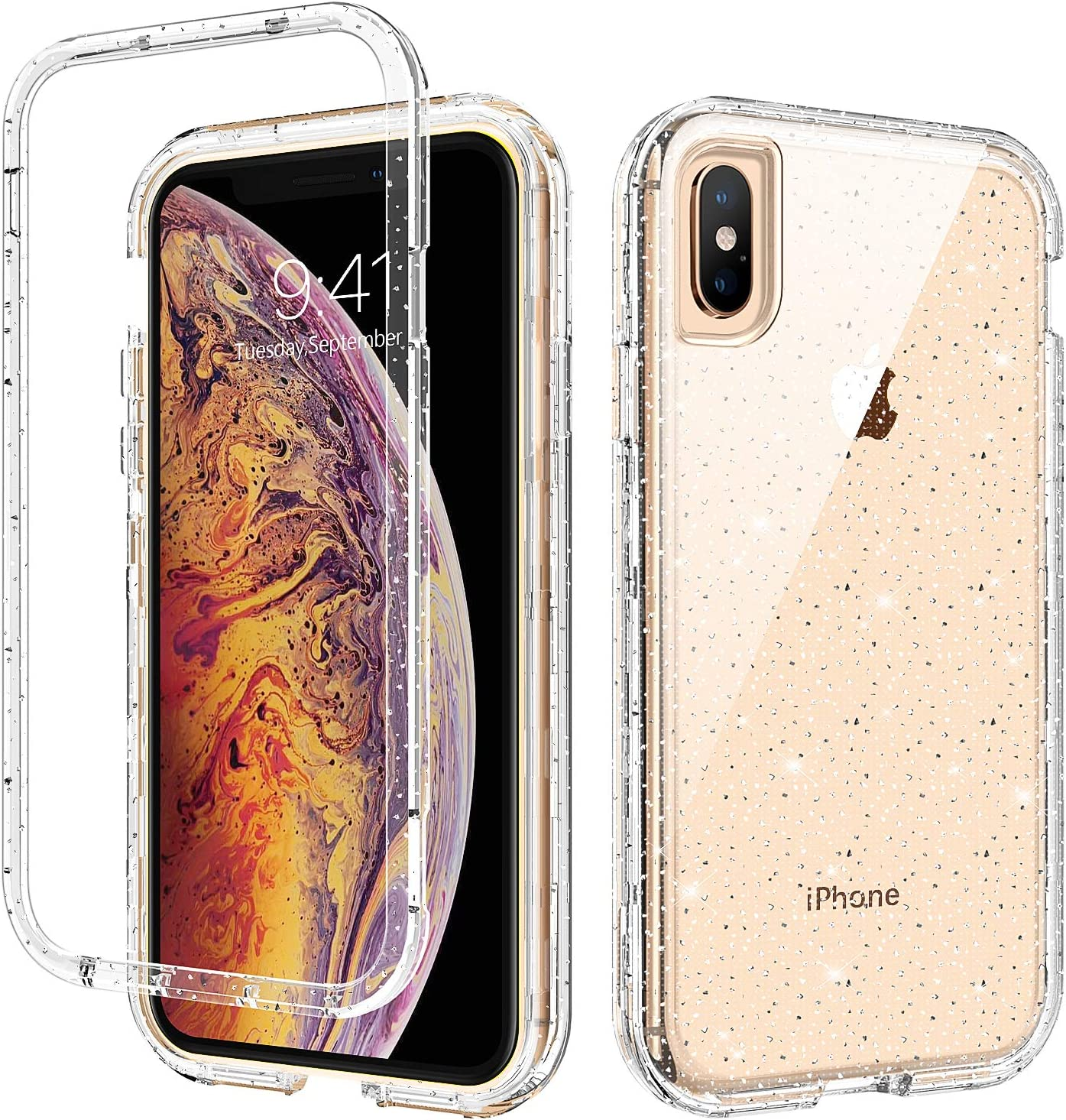 iPhone Xs Max Case, GUAGUA Glitter Bling Clear Crystal Shiny Sparkly Cover for Girls Women Three Layer Hybrid Hard PC Soft TPU Bumper Shockproof Protective Phone Case for iPhone Xs Max 6.5-inch 2018