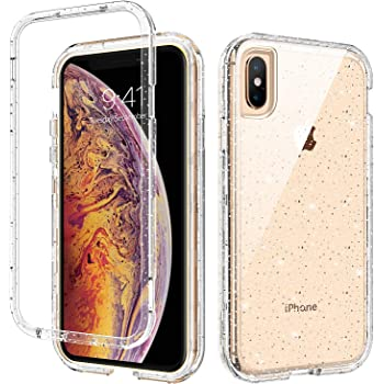 GUAGUA iPhone Xs Max Case, Glitter Bling Clear Crystal Shiny Sparkly Cover for Girls Women Three Layer Hybrid Hard PC Soft TPU Bumper Shockproof Protective Phone Case for iPhone Xs Max 6.5-inch 2018