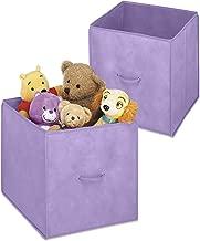 Whitmor 2 Piece Velvet Collapsible Cubes, Purple