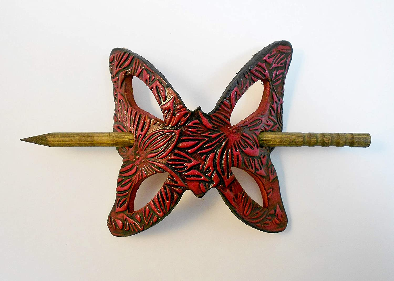 2 Tooled Leather Butterfly Hair 4 years warranty w Color Branded goods Sticks Bright Barrettes