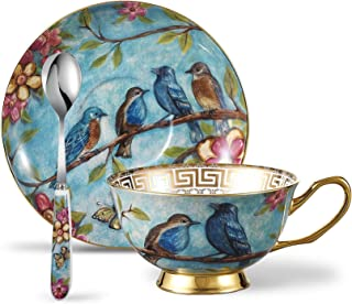 Panbado 3 Piece Bone China Tea Cup Saucer Set with Spoon Porcelain Gold Rimmed Teacup Coffee, Flower and Birds, 200 mL/6.8 oz, Blue, Cup & Saucer
