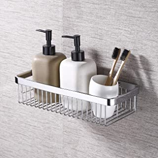 KES Adhesive Bathroom Shower Caddy Basket SUS304 Stainless Steel Shower Shelf Rustproof No Drill Wall Mount, Polished Finish BSC201DF