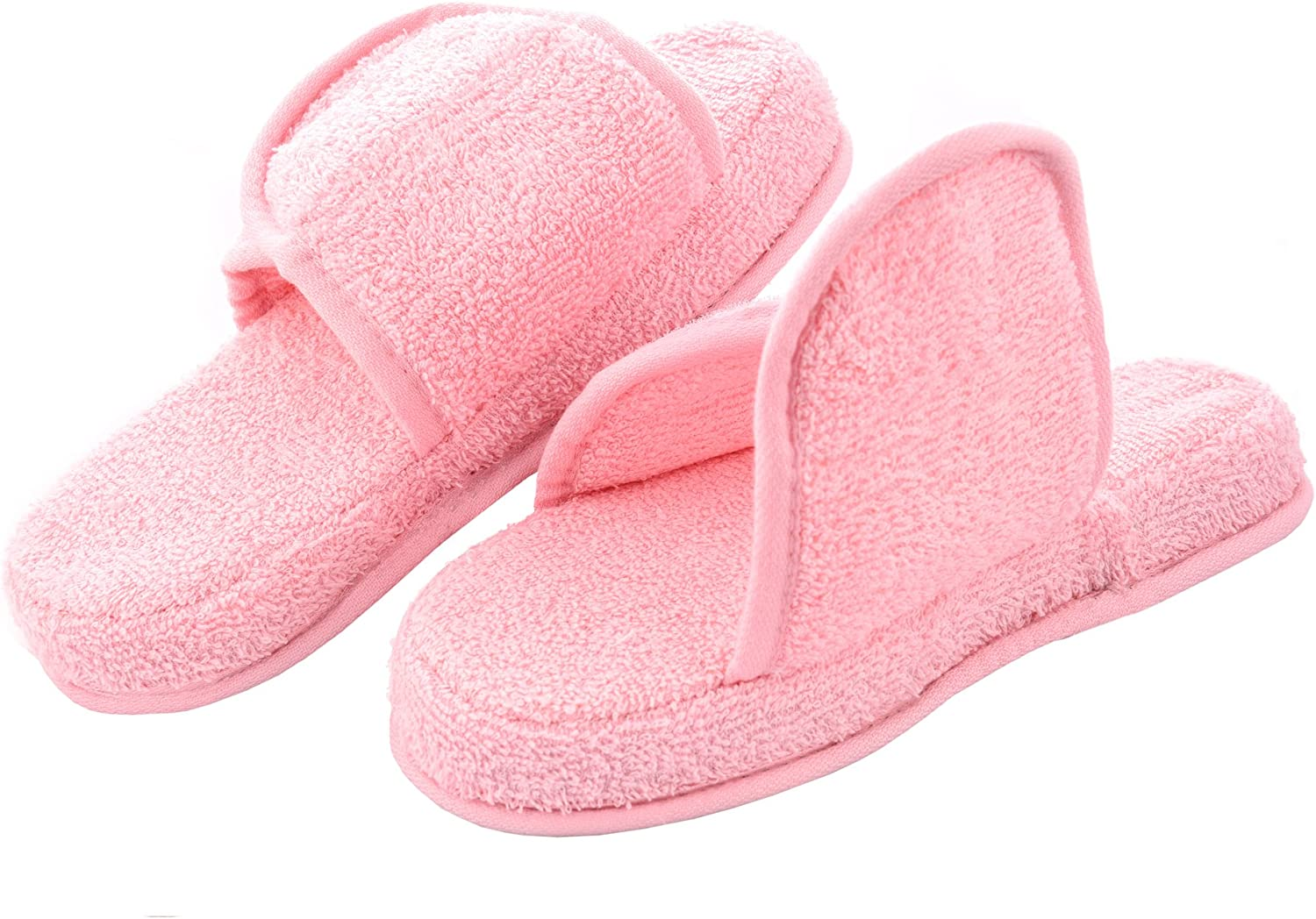 Men's and Women's Cozy Memory Foam Soft Premium 100% Turkish Terry Cotton Cloth Open Toe Spa Slide House Indoor Slippers
