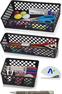 Officemate OIC Achieva Office Supply Basket Bundle, 1 of Each Size Shown Plus Bonus Items Custom AdvantageOP Metal Retractable Pen and Letter Opener
