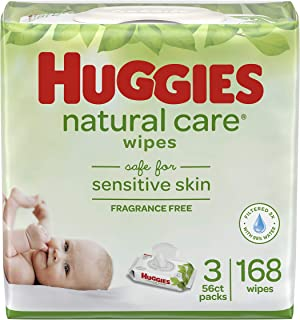 HUGGIES Natural Care Unscented Baby Wipes, Sensitive, Water-Based, 168 Count, Pack of 3