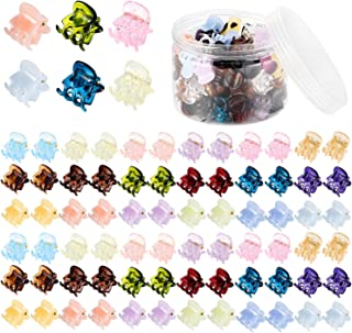 Mini Hair Claw Clips, Funtopia 72 Pcs Small No-Slip Claw Clips Plastic Hair Clamps Tiny Hair Clips for Girls and Women (Candy Colors)