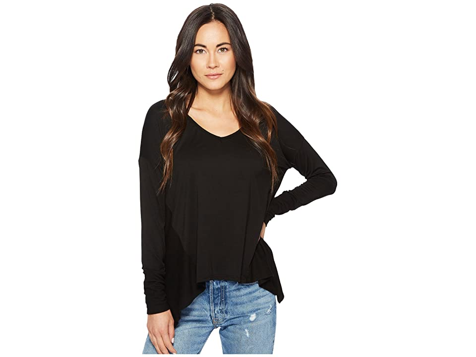 Three Dots Mixed V-Neck Top (Black) Women