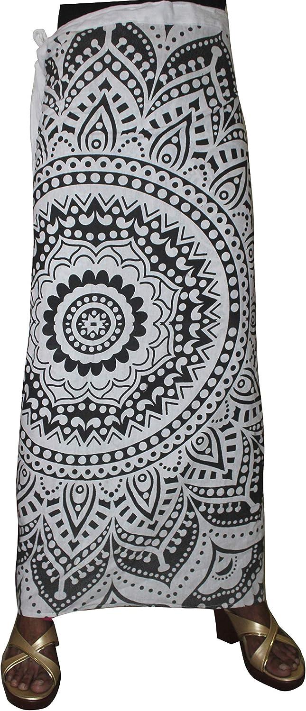 Lakkar Haveli Women's Mandala Print Wrapron Skirt Hippie Ethnic Beach Wear Casual Baggie Gypsy Plus Size