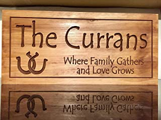 Printed Last Name Signs Cabin Signs Colts Horseshoe Custom Personalized Signs Wooden Plaque Wall Decor Word Signs Gift