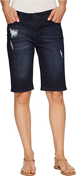 Bobbie Bermuda Shorts in Vintage Super Comfort Stretch Denim in Vallejo Dark Destruct